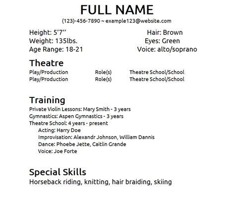 theatre resumes beginner acting resume sample