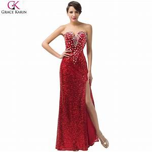 long red evening dress 2017 robe de soiree grace karin With robe en sequin