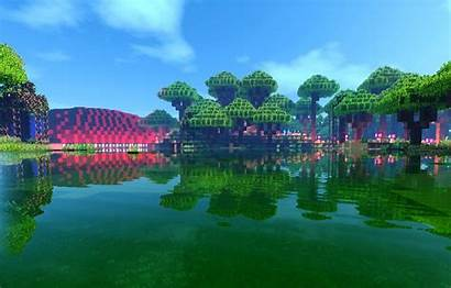 Minecraft Sky Forest Lake Clouds Water Trees