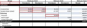 Deckungsbeitrag Berechnen Excel : kalkulationsschema in excel zum kostenlosen ~ Themetempest.com Abrechnung