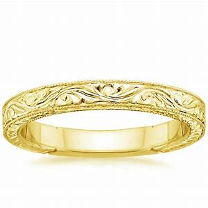 hand engraved laurel ring in 18k yellow gold With wedding rings engraved