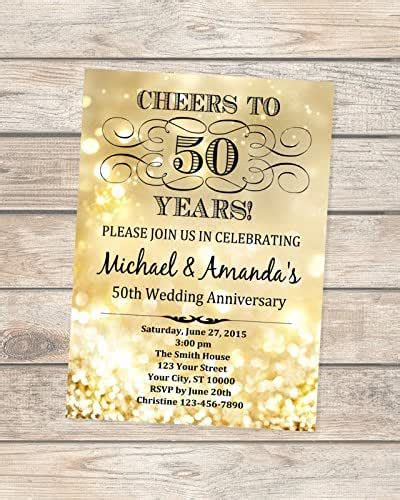 Amazon com: 50th Golden Wedding Anniversary Invitation