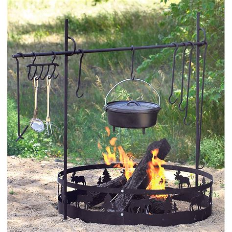 cooking fire pit campfire camping gear guide tools equipment cook dutch kitchen sportsman ovens camp open iron cast spit oven