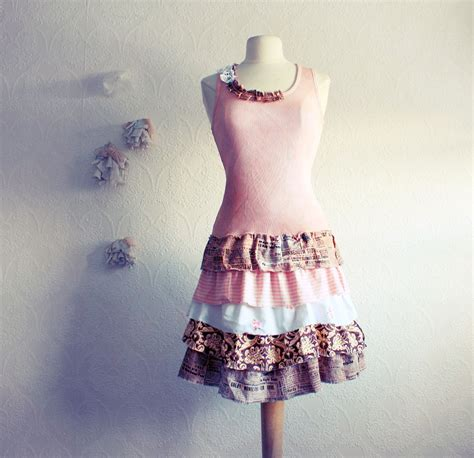Upcycled Shabby Chic Dress Pink Brown Womens By Myfairmaiden