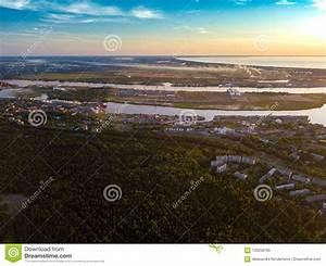 Riga, Aerial, View, To, Estuary, Of, The, River, Daugava, Stock, Photo