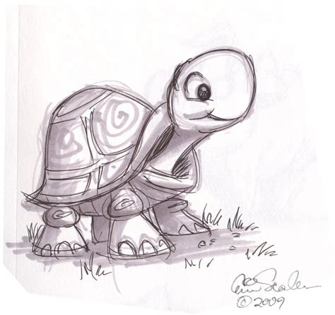 cartoon animal sketch cute turtle drawings