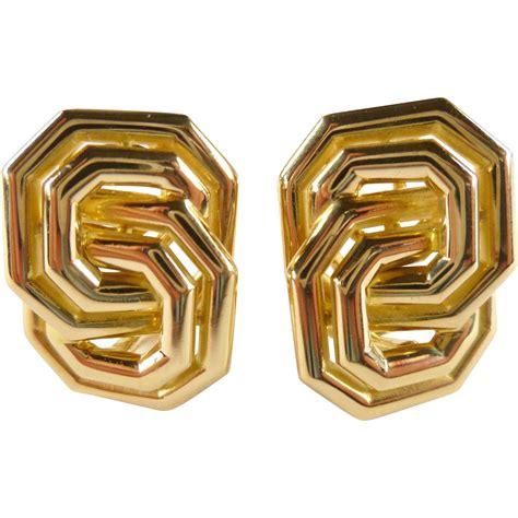 18k gold earring vintage chaumet 18k gold figure eight earrings from