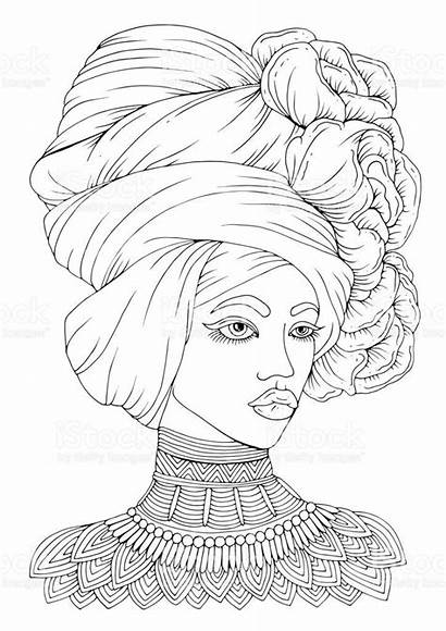 African American Coloring Pages Woman Mandala Head