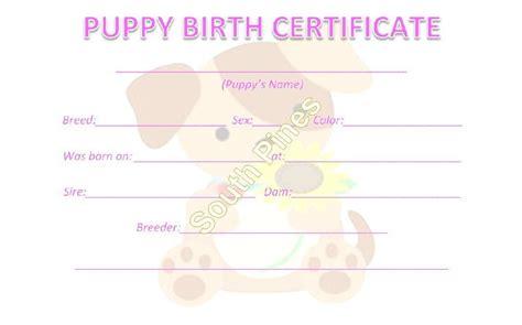 dog birth certificates 5 puppy birth certificates dog litter breeder supplies