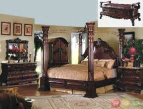 four bedroom king cherry poster luxury canopy bed w leather headboard master bedroom
