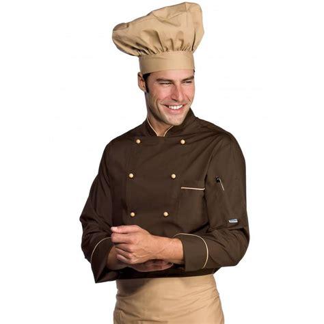 veste de cuisine homme personnalisable veste chef cuisinier manches longues extralight biscuit cacao