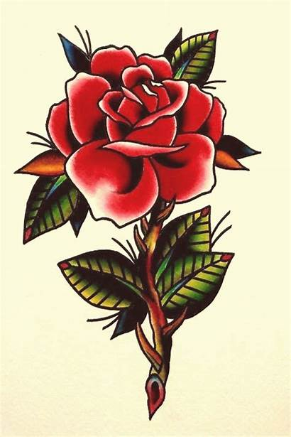 Traditional Rose Tattoo American Drawing Tattoos Heart