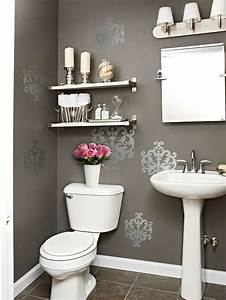 Gray powder room contemporary bathroom bhg for Kitchen colors with white cabinets with derouleur papier wc