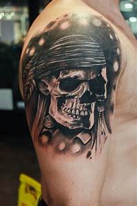 Realistic Black Pirate Skull Tattoo On Forearm By ...