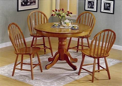 5pc Round Oak Pedestal Kitchen Dining Table Set