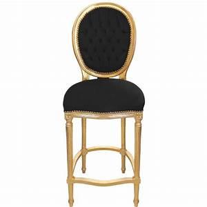 Chaise Velours Noir : chaise de bar de style louis xvi pompon avec tissu velours noir et bois dor ~ Teatrodelosmanantiales.com Idées de Décoration