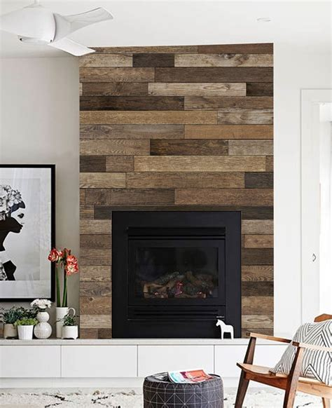 reclaimed wood mural wall art wallpaper peel  stick