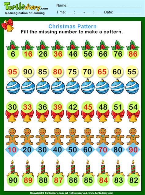 christmas find  missing number pattern worksheet