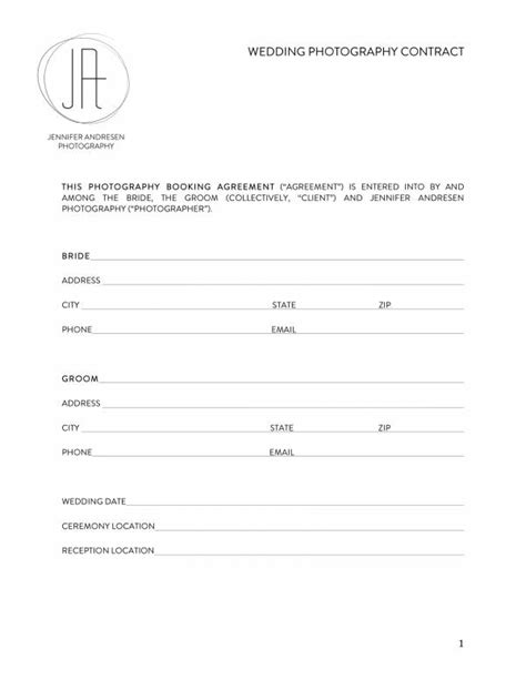 wedding planner contract templates   ms