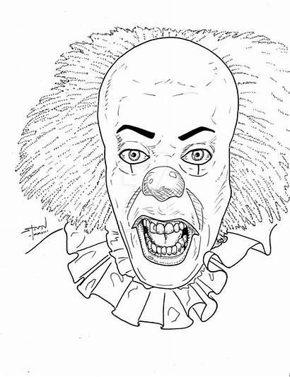 Clown Killer Drawing Pennywise Getdrawings