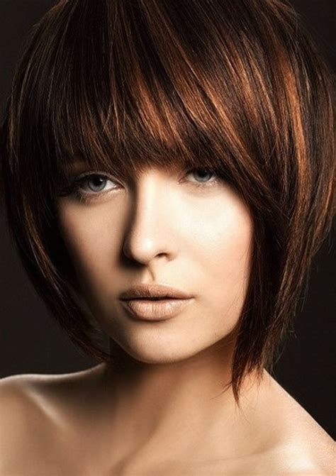 short haircuts with bangs side swept choppy straight
