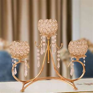Gold, 3, Arms, Metal, Crystal, Candle, Holder, Wedding, Candelabra, Home, Decor, Candlestick, Festive, Party