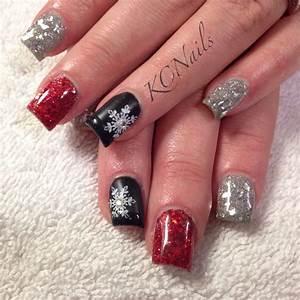 black red and silver acrylic nails | Nail Design Art ...
