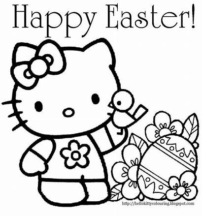 Easter Kitty Hello Coloring Happy Pages Printable