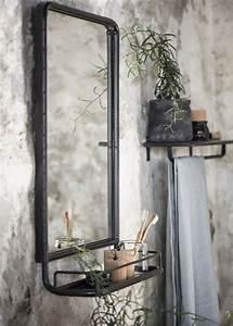 Spiegel Mit Ablage : laursen wandspiegel mit ablage 70x49cm 3129 25 metall schwarz retro vintage ebay ~ Frokenaadalensverden.com Haus und Dekorationen
