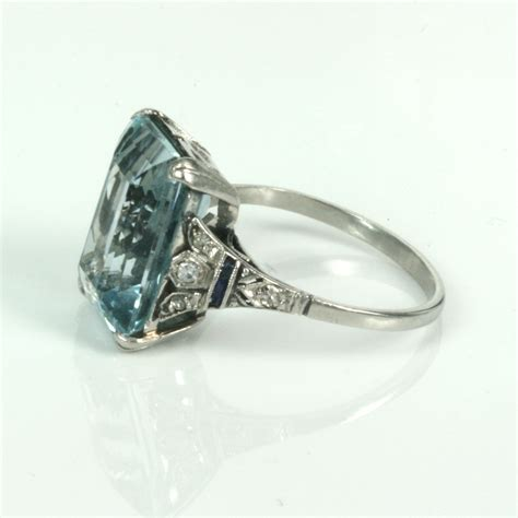 buy deco aquamarine ring in platinum sold items sold rings sydney kalmarantiques