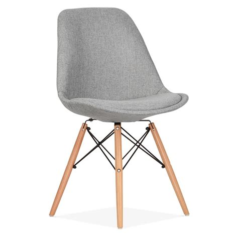 chaises design bois eames inspired cool grey upholstered dining chair with dsw