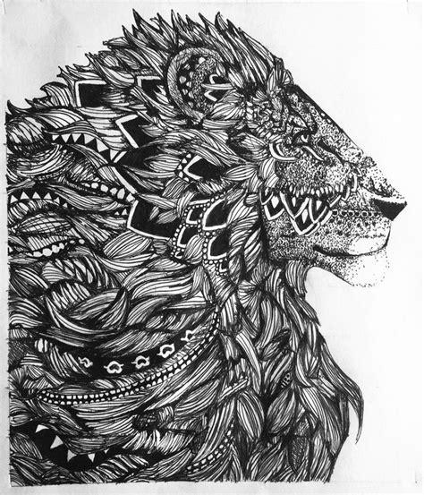 zentangle lion black  white zentangle animal drawing