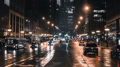 Street Night Lights Chicago Traffic Background Usa