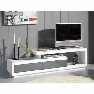 Meuble Gris Et Blanc : meubles tv meubles et rangements meuble tv seville blanc 2 tiroirs gris anthracite inside75 ~ Teatrodelosmanantiales.com Idées de Décoration