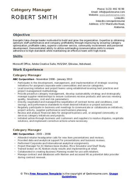 category manager resume samples qwikresume