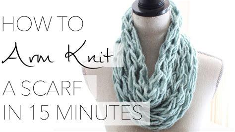 arm knit  single wrap infinity scarf   minutes