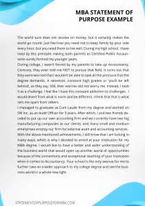 Statement of Purpose Sample MBA Essays