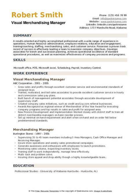 merchandising manager resume samples qwikresume