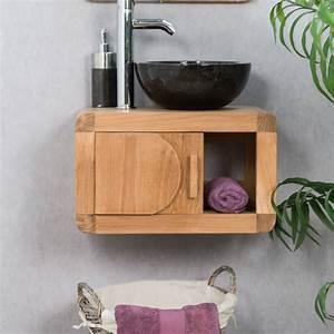 Meuble sous vasque (simple vasque) suspendu en bois (teck) massif : Rétro, rectangle, naturel, L