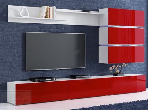 Hängend angebrachte wohnwände wirken locker und modern. KAUFEXPERT - Wohnwand Sigma Rot Hochglanz/Weiß Mediawand ...
