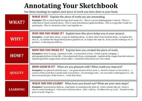 art  oasis academy enfield gcse sketchbook annotation sheet
