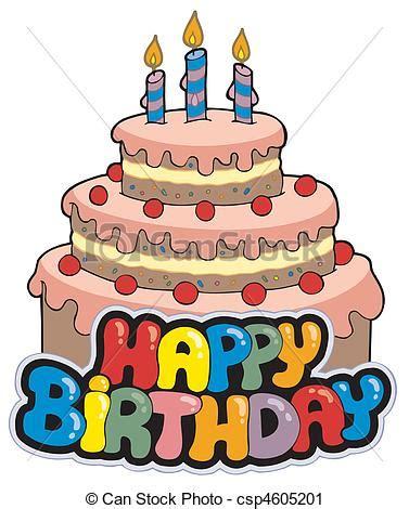 torta clipart torta buon compleanno segno illustration