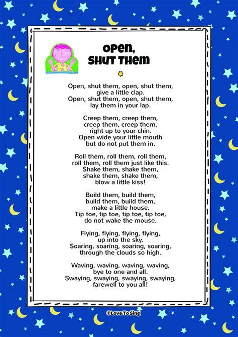 open shut  nursery rhyme thenurseries