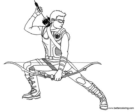 hawkeye coloring pages base by dark chocobo free