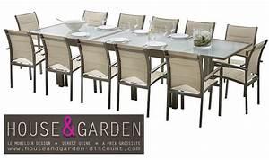 ensemble modulo 12 places taupe salon de jardin pas cher With salon de jardin avec rallonge