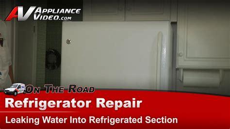 ge gtstbsaww refrigerator repair leaking water  refrigerated section drain trough