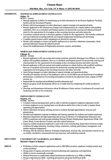 Employment Resume by Employment Consultant Resume Sles Velvet