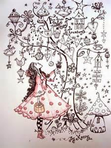 Zentangle Christmas Tree Drawings
