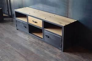 Meuble Acier Bois : createur de mobilier bois metal sur mesure ~ Teatrodelosmanantiales.com Idées de Décoration