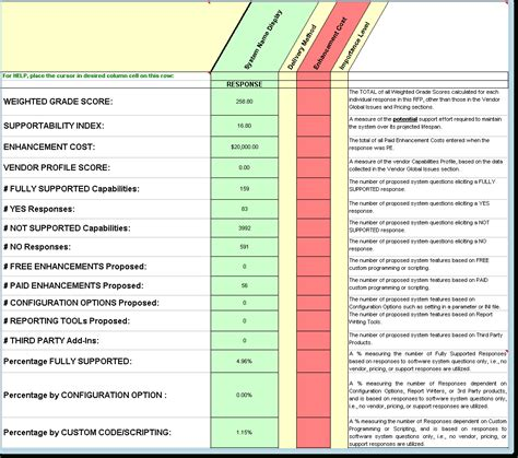 software comparison spreadsheet template db excelcom